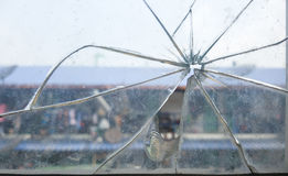 Glass cracked from the rock. Stock Image