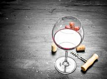 glass of cran wine with a corkscrew and a branch of grapes. Stock Photos