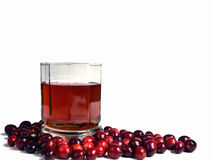 Glass of Cranberry Juice Isolated on White Stock Photos