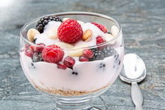 Glass of creamy rich berry parfait with almonds Royalty Free Stock Images