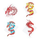 Glass creative elegance dragons  symbols set. Isolated Royalty Free Stock Photos