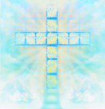 Glass cross in sky Stock Photography