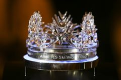Glass crown of the Audi Fis ski world cup. ZAGREB, CROATIA - JANUARY 2, 2018 : A glass crown of the Audi Fis ski world cup in the Westin hotel lobby in Zagreb Stock Photos