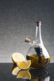 Glass cruet with olive oil Royalty Free Stock Photography