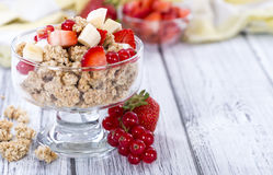 Glass with Crunchy Yoghurt and fresh fruits Stock Photography