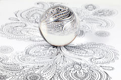 Glass Crystal Ball. Over design art on white background stock image