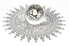 Glass Crystal Ball. Over design art on white background royalty free stock image