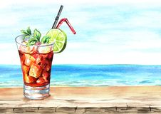 Glass of Cuba Libre cocktail with lime, ice cubes and mint. Summer drink. Background with empty space for your text. Watercolor vector illustration
