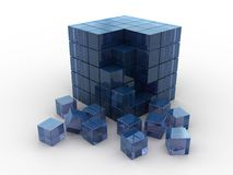 Glass cube. Abstract 3d illustration of glass cube deconstructed, puzzle Stock Photos