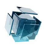 Glass cube. Composed by smaller glass squares Royalty Free Stock Image