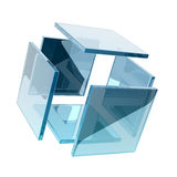 Glass cube. Composed by smaller glass squares Royalty Free Stock Photos