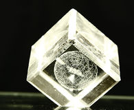 Glass cube on dark backgroud. Glass cube with globe inside royalty free stock photography