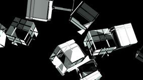 Glass Cubes Abstract On Black Background.  stock video footage