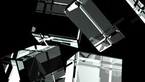 Glass cubes abstract on black background. 3DCG render Animation stock video