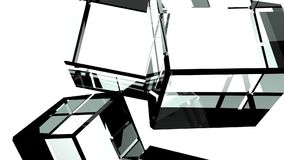 Glass cubes abstract on white background. 3DCG render animation stock video footage