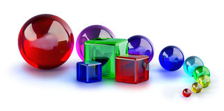 Glass Cubes And Colorful Marble Balls Royalty Free Stock Image
