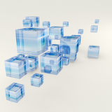 Glass cubes background. Glass cubes arranged in a chaotic way. 3d-rendering. Sea background was used as a reflection map Stock Image