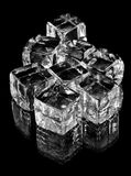Glass cubes on black Stock Photos