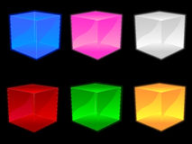 Glass Cubes EPS. A group of six 3D glass cubes. Available in vector EPS stock illustration