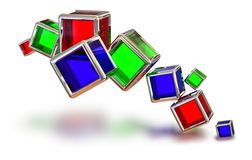 Glass cubes in a metal frame Stock Photo