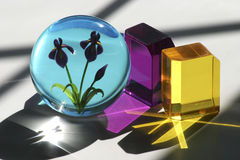 Glass Cubes and Paperweight. Colorful glass cubes and paperweight Royalty Free Stock Images