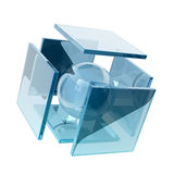 Glass cubes. Glass sphere inside glass squares Royalty Free Stock Image