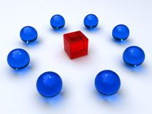 Glass cubes and spheres Stock Images