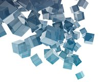 Glass cubes. On white background Stock Photos