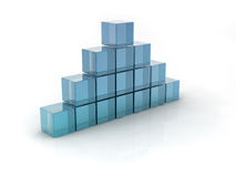 Glass cubes. On white background. digitally generated image Stock Photo