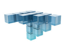 Glass cubes. On white background. digitally generated image Royalty Free Stock Photo