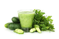 Glass of cucumber juice isolated on white. Royalty Free Stock Photo