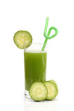 Glass of cucumber juice and slice of a cucumber Stock Photography
