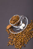 Glass Cup And Coffee Beans Stock Image