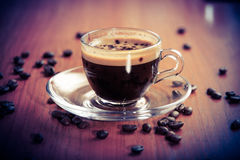 Glass cup of aroma coffee crema Stock Photos