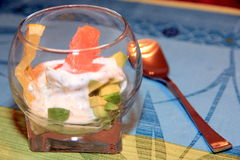 Glass cup with avocado and salmon Royalty Free Stock Images