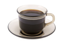Glass cup of black coffee isolated Stock Image