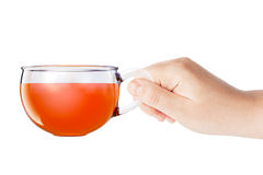 Glass Cup of Black Tea in Hand isolated. 3d Rendering Stock Image