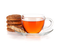 Glass cup of black tea with homemade cookies Royalty Free Stock Photo
