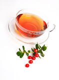 Glass cup of black tea. Isolated on white Stock Photos