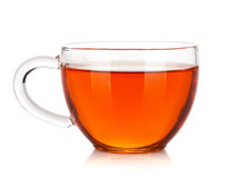 Glass cup of black tea stock photos