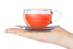 Glass Cup of Black Tea over Hand. 3d Rendering Stock Images