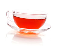Glass cup of black tea.  on white Royalty Free Stock Photography
