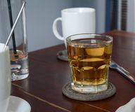 Glass cup of black tea Royalty Free Stock Photos