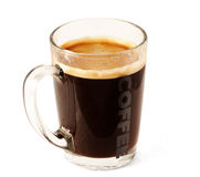 Glass cup of coffee Royalty Free Stock Images