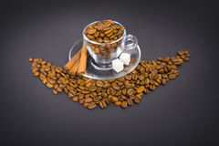 Glass  cup with  coffee beans Stock Photo