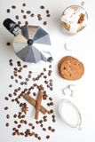 Glass cup of coffee, coffee maker and dessert. Top view. Glass cup of coffee, coffee maker and dessert royalty free stock photos