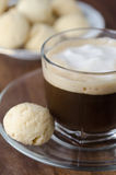 Glass cup of coffee with froth Royalty Free Stock Image