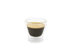 Glass Cup of Coffee. A glass cup of coffee full of black coffee on a white background Stock Photography