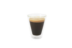 Glass Cup of Coffee. A glass cup of coffee full of black coffee on a white background Stock Images