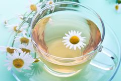 Glass cup with decoction of chamomile. And flowers royalty free stock photos